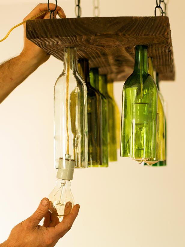 Orginal Chandelier Made From Wine Bottles Inserting The 3x4 Lg